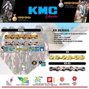 Harga [KMC] X9.93 Bicycle Chains. For Mountain Road City bike. Compatible with all 9 speed Campagnolo Shimano SRAM drivetrain.