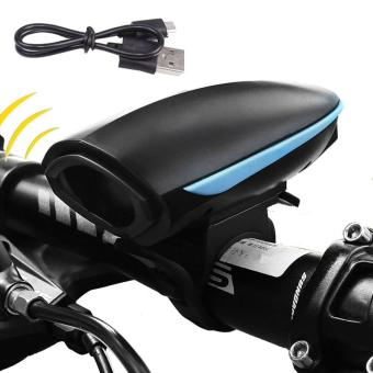 Harga Bike Light, Bike Horn Light, Bicycle Light, LED Bike Headlight with USB Rechargeable 250 Lumen Super Bright and 140 DB Loud Bike Horn 3 Light Mode Options - intl
