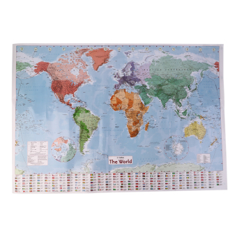 Harga OH New 97.5 X 67.5 Large World Map English French Wall Chart Teaching Poster