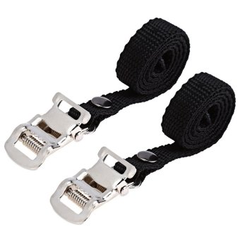 Harga 1 Pair Fixed Gear Bike Bicycle Pedal Toe Strap Foot Binding Band (BLACK)