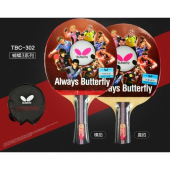 Harga Genuine Butterfly TBC302 Table Tennis Blades / Paddle / Bat / Table Tennis Racket FL Shakehand Grip with Bag (Long Handle) - intl