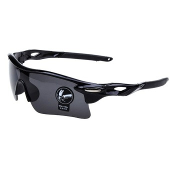 Harga Cyber Men's Outdoor Cycling Windproof UV400 Sport Sunglasses Goggles(Black)