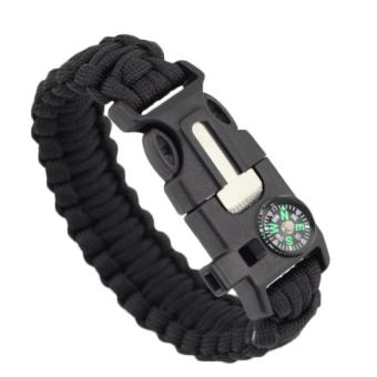 Harga 5in1 Outdoor rope Paracord Survival gear escape Bracelet Flint/Whistle/Compass (Black)