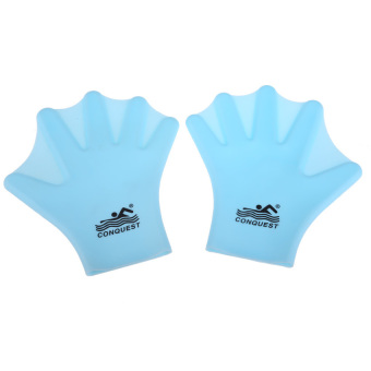 FLY Swimming Webbed Gloves Adult Frog Finger Fin Paddle Hand Wearsilicon Blue - intl