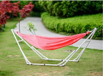 Medium image of outdoor casual parachute cloth hammock with stand rack   beds dormitory foldable traveling by car camping
