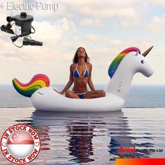 Harga Inflatable GIANT Float UNICORN 275cm (front to end) x 140cm x 120cm + ELECTRIC Pump ■ swim float ■ 1000+ sold ■ Stocks in Singapore ■