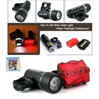 Waterproof Bike Bicycle Lights 5 LEDs Bike Bicycle Front Head Light + Safety Rear Flashlight Torch Lamp headlight accessory - intl