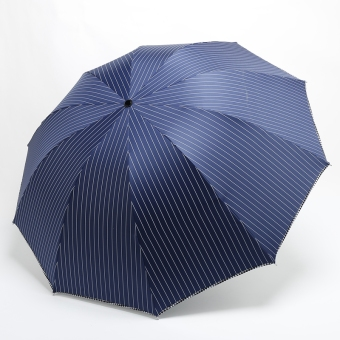 110cm men's bone striped thick SUN umbrella rain or shine dual umbrella (Dark blue color)