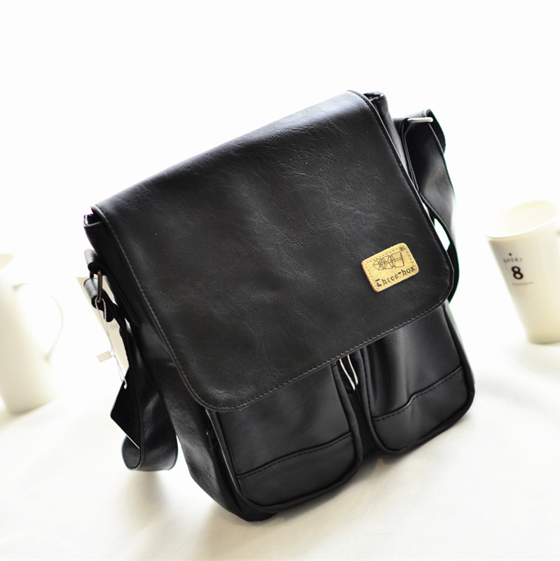 2015 new england style men's fashion casual shoulder bag diagonal package small bag retro bag man bag tide bag (An upgraded version of the shallow coffee)