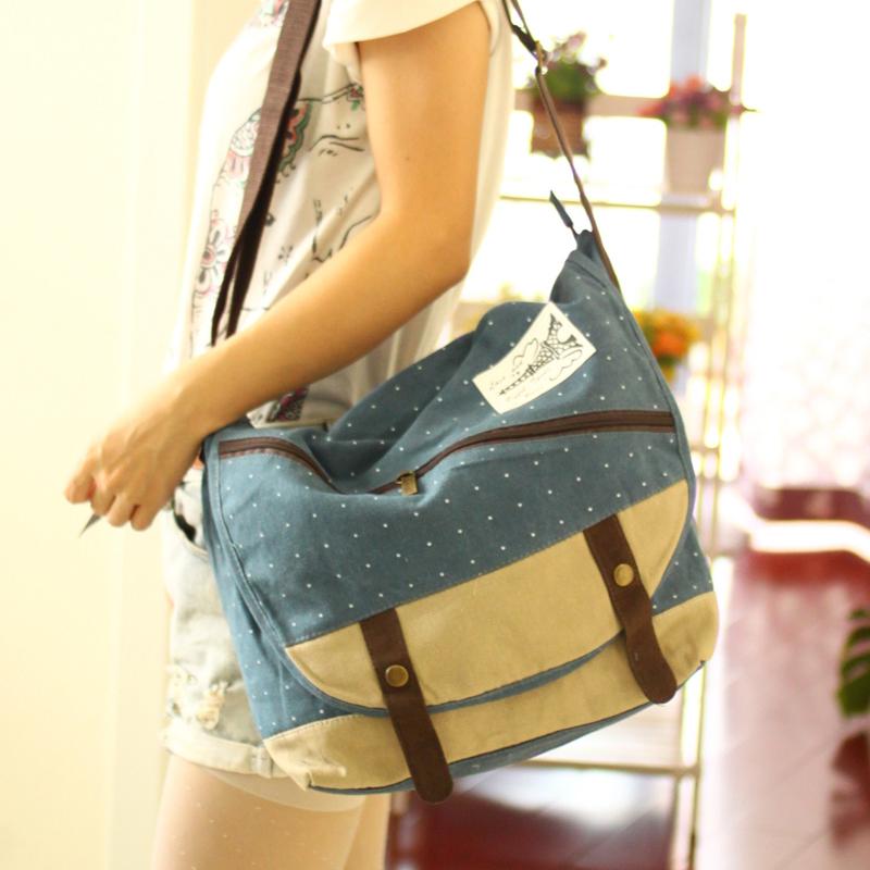 2015 New style shoulder bag female bag tide College Students messenger bag canvas bag diagonal small bag College Wind small fresh (Dark blue color)