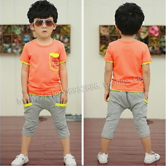 2015 summer New style children's clothing boys and girls in smallchildren Children's suit sports casual suit T-shirt two-piece Sets(Casual pockets orange)