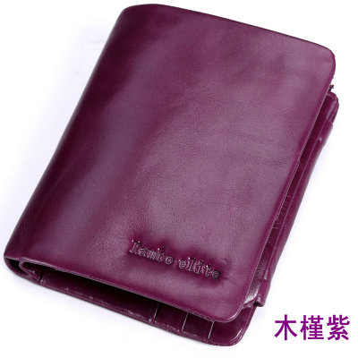 2016 New style wallet female short paragraph leather women large capacity wallet oil wax leather three fold Korean-style zip wallet (Hibiscus purple)