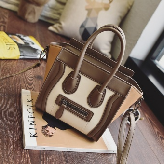 2017 new korean version of the retro hit color handbag european and american jiong jiong bag smiley face bag bag solid color casual handbag tide (Brown with white)