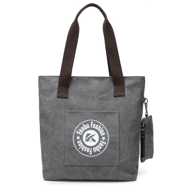 2017 New style canvas bag Korean-style casual handbag portable shoulder bag green cloth bag small fresh literature and art cloth (Gray)