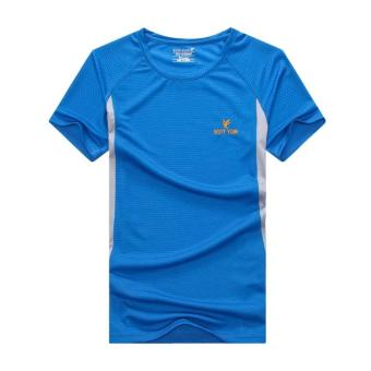 2017 summer New style outdoor short-sleeved quick-drying T-shirtmen's sports casual running Short sleeve quick-drying clothes(Color Blue)