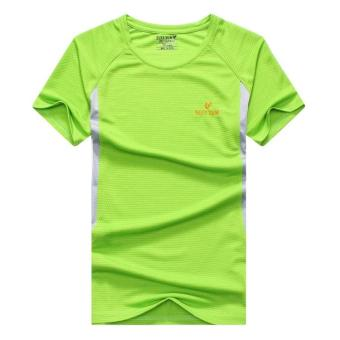 2017 summer New style outdoor short-sleeved quick-drying T-shirtmen's sports casual running Short sleeve quick-drying clothes(Grass green color)