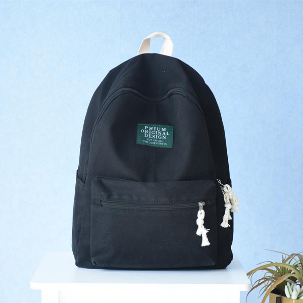 2017poy indie girl's women's shoulder bag canvas backpack (Black)