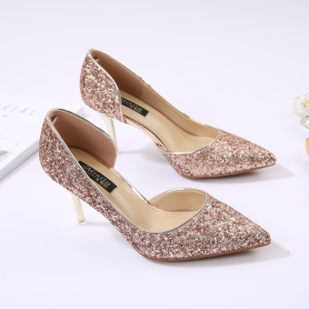 5cm female fine with bridal wedding leather shoes high-heeled shoes(Champagne color (with high 5 cm)) (Champagne color (with high 5cm))