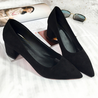 5cm thick with pointed bridesmaid work shoes single shoes high-heeled shoes (Black) (Black)
