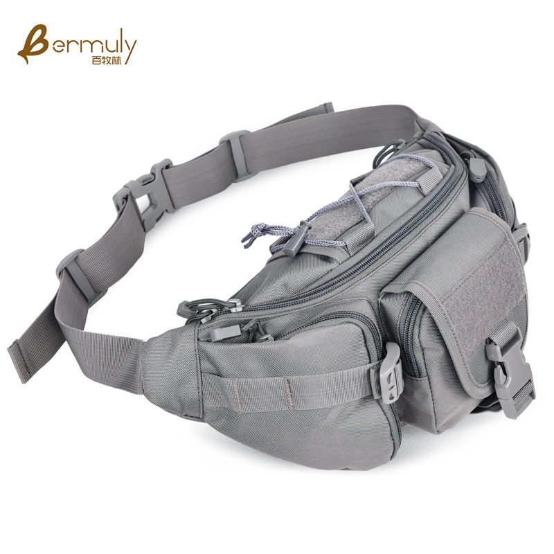 A hundred, animal husbandry, forest outdoor military fans pockets casual bag messenger bag running riding big pockets fashion man bag sports chest pack (Gray)