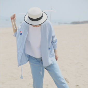 And wind loose kimono thin section sunscreen coat spring and summer women's (Light blue) (Light blue)