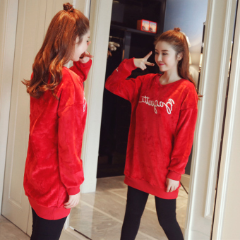 Autumn and Winter Korean-style Plus velvet New style thick loose Top hoodie (Red Plus velvet Top + gray Plus velvet pants)
