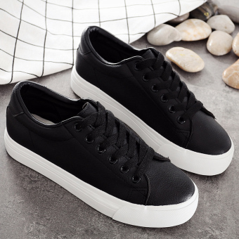 Autumn and Winter leather female muffin bottom Korean-style casual shoes white shoes (Black)