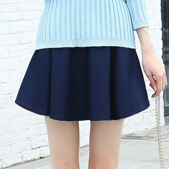 Autumn and Winter versatile New style sheath pleated dress pants high-waisted skirt (Navy blue)