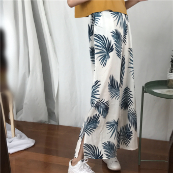Autumn elastic high-waisted leaves pants