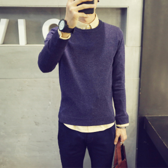 Autumn New style Slim fit long-sleeved sweater (Dark blue color)