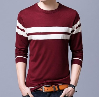 Autumn Winter Cotton Sweater Men Thick Warm Wool Sweaters -Red - intl