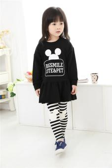 Baby cotton girls Spring and Autumn New style Korean-style dress (Black) (Black)