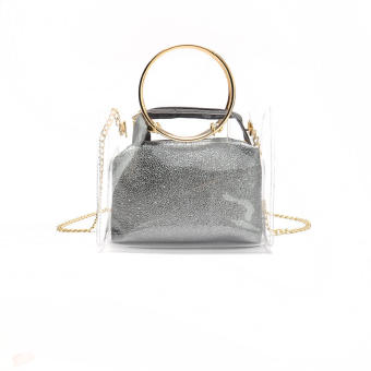 Bag female 2017 summer New style wild jelly transparent picture beach hand bag shoulder messenger chain small bag (Gray)