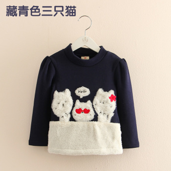 Baobao jh-0019 Korean-style New style children's base shirt thick long-sleeved t-shirt (Dark blue color three only cat)