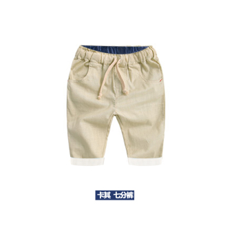 Baobao Korean-style cotton New style children's clothing pants in pants (Deep khaki cloth color)