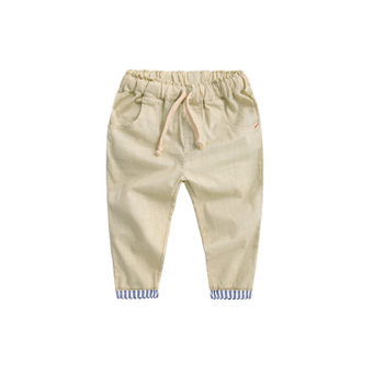 Baobao Korean-style Spring and Autumn New style children's pants linen pants (Khaki)