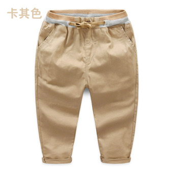 Baobao kz-a393 New style children's casual pants drawstring pants (Khaki)