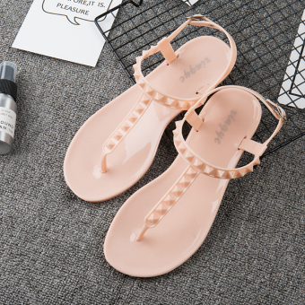 Beach outerwear flat with drag sandals female drag (Sandals pink)