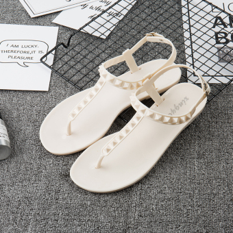 Beach outerwear flat with drag sandals female drag (Sandals white)
