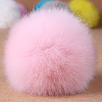 Big fur ball pendant bag ornaments phone pendant imitation rabbitfur fox fur ball pendant key ring for men and women multicolor(Pink)