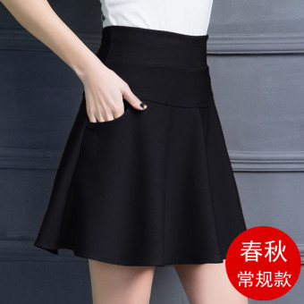 Black Spring and Autumn New Style High waisted skirts skirt (986 black)