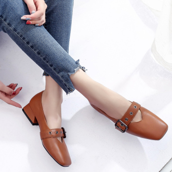 Black versatile retro square head leather belt buckle small leather shoes New style shoes (Upgrade Brown)