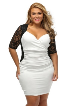 Black White Ruched Lace Illusion Plus Dress - intl