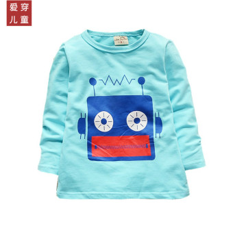 Boy's girls Spring and Autumn children's clothing long-sleeved Top T-shirt (Blue [one-piece radio machine])