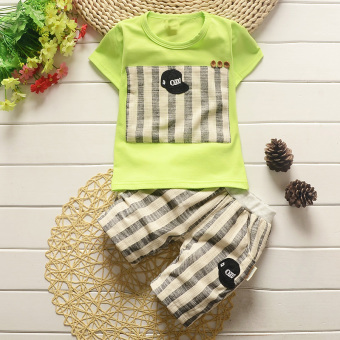 Boy's summer New style children's short sleeved suit (Summer Small Black Hat-green)