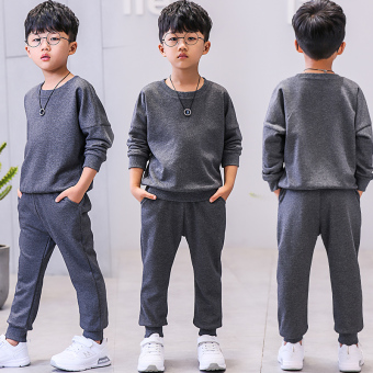 Boys autumn dress suit 2017 New style children's big boy Spring andAutumn Korean-style casual sports hedging two-piece sets tideclothing (Gray)