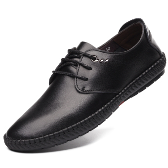 British soft leather men's breathable casual shoes Shoes (Black shoes)