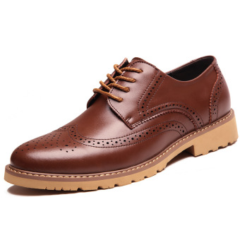 Brogue British style men's casual leather shoes men shoes (Shallow brown) (Shallow brown)