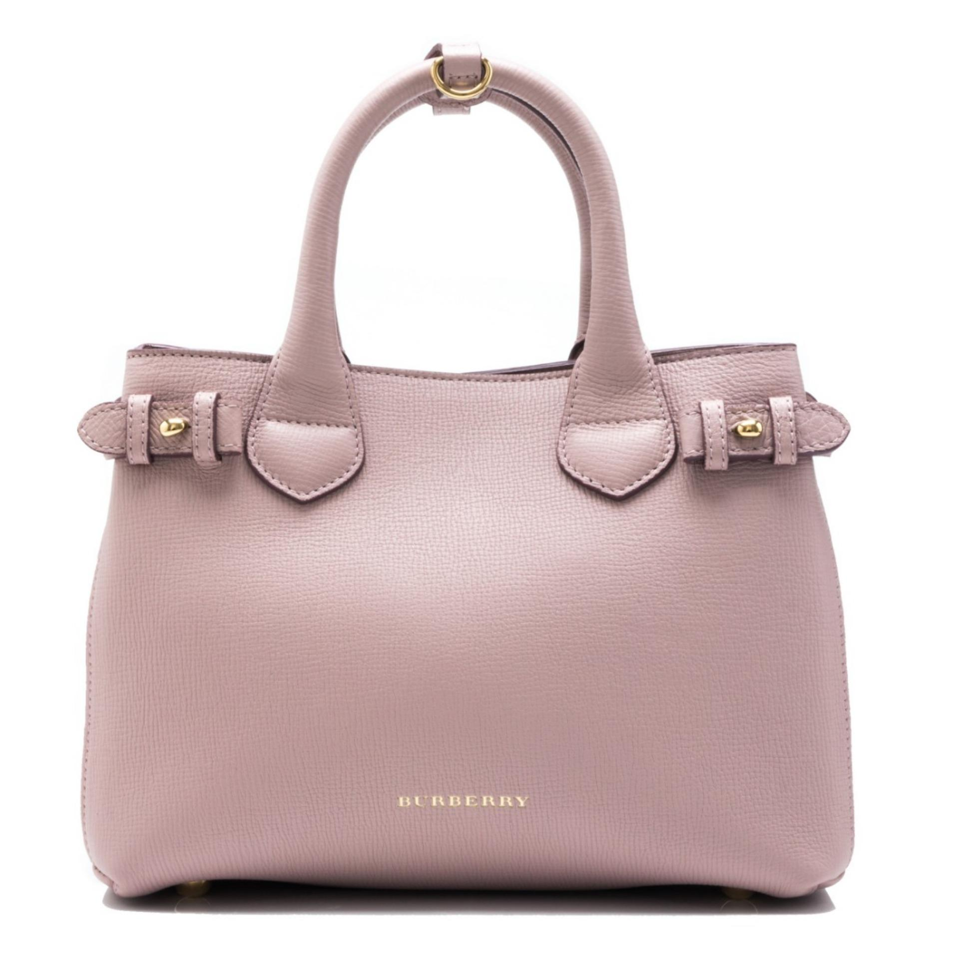 c27dfcdb5392 Burberry House Check Derby Leather Small Banner Tote (Pale Orchid ...