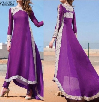 BYL fashion style women summer boho dress long sleeve gablue  Purple